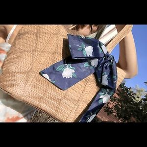 NEW Straw Bag with Blue Floral Scarf